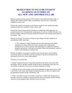 RESOLUTION TO INCLUDE STUDENT LEARNING OUTCOMES ON ALL NEW AND AMENDED SYLLABI