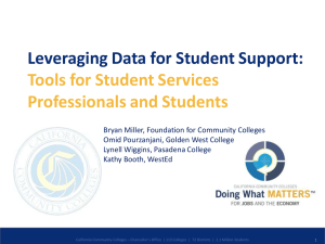 Leveraging Data for Student Support:  Tools for Student Services Professionals and Students