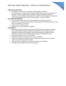 Alternate Media Specialist – Minimum Qualifications 1