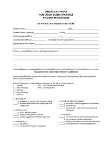LIBERAL ARTS WORK NON-CREDIT BASED EXPERIENCE STUDENT RATING FORM