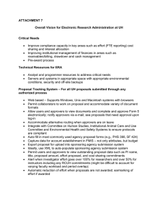 ATTACHMENT 7  Overall Vision for Electronic Research Administration at UH Critical Needs