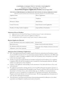 EASTERN CONNECTICUT STATE UNIVERSITY  Social Work Program Application Forms|