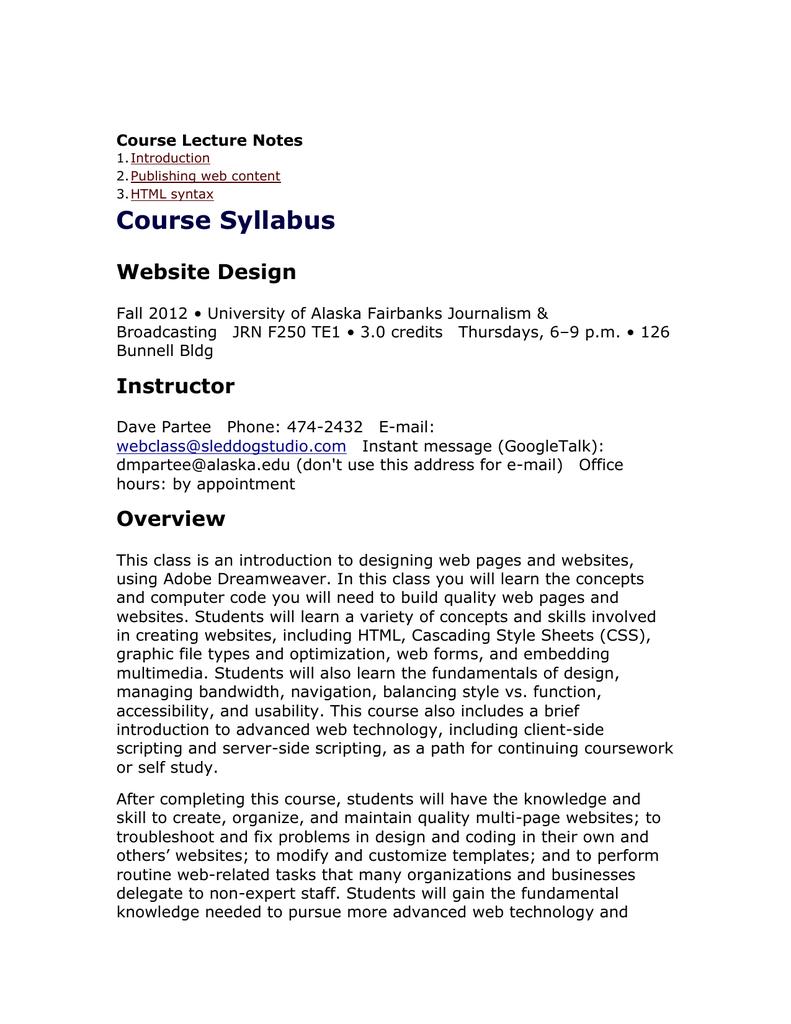 Introduction To Web Design Course Syllabus Website Design