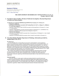THE JOHNS HOPKINS MICROBIOLOGY NEWSLETTER Vol. 24, No. 11