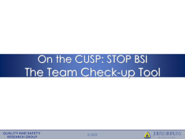 The Team Check-up Tool On the CUSP: STOP BSI © 2009