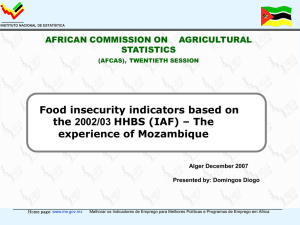 Food insecurity indicators based on the 2002/03 HHBS (IAF) – The