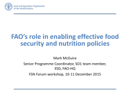 FAO's role in enabling effective food security and nutrition policies