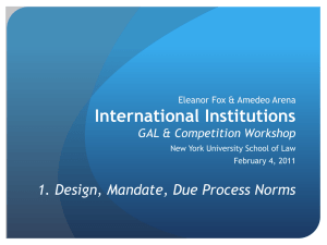 International Institutions 1. Design, Mandate, Due Process Norms GAL & Competition Workshop