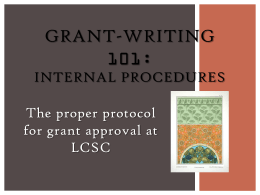GRANT-WRITING 101: The proper protocol for grant approval at