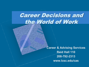 Career Decisions and the World of Work Career & Advising Services