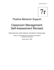 7r Classroom Management: Self-Assessment Revised