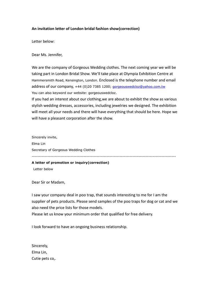 An invitation letter of London bridal fashion show