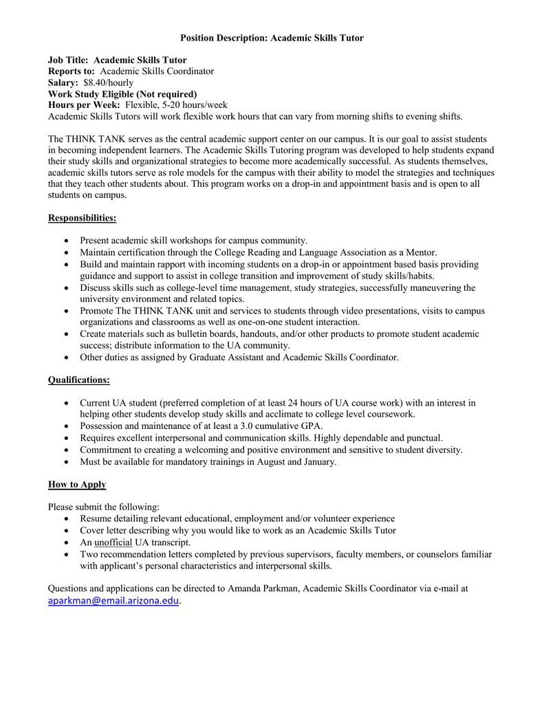 Position Description: Academic Skills Tutor Job Title ...