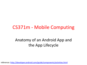 CS371m - Mobile Computing Anatomy of an Android App and reference: