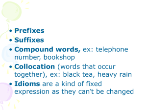 Prefixes Suffixes Compound words, number, bookshop