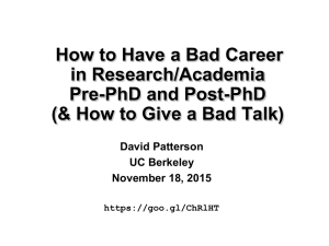 How to Have a Bad Career in Research/Academia Pre-PhD and Post-PhD