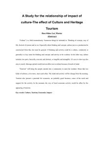 A Study for the relationship of impact of Tourism Abstract