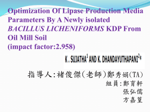 Optimization Of Lipase Production Media Parameters By A Newly isolated (impact factor:2.958)