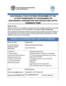 SUSTAINABLE FOOD SYSTEMS PROGRAMME OF THE 10-YEAR FRAMEWORK OF PROGRAMMES ON