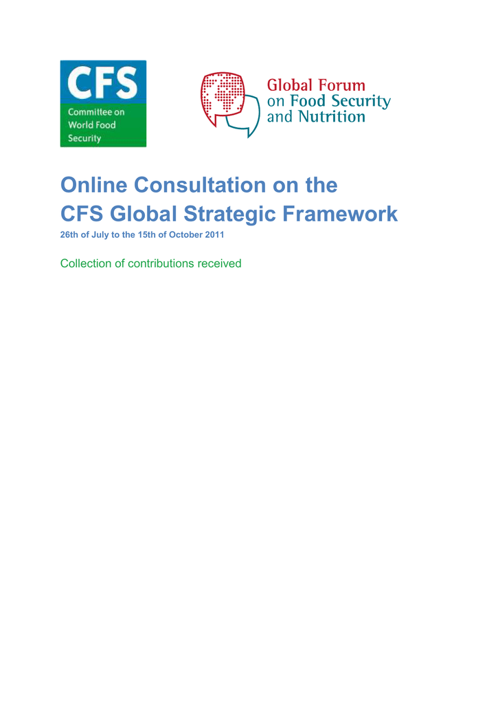 Online Consultation on the CFS Global Strategic Framework Collection ...