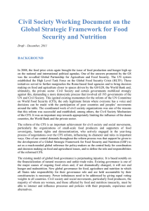 Civil Society Working Document on the Global Strategic Framework for Food BACKGROUND