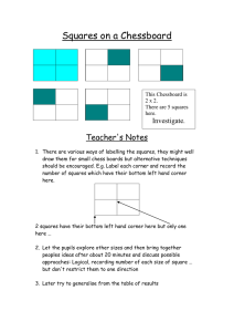 Squares on a Chessboard  Teacher's Notes Investigate.