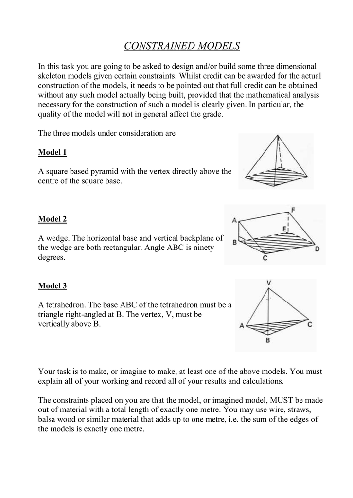 CONSTRAINED MODELS