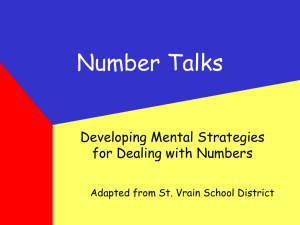 Number Talks Developing Mental Strategies for Dealing with Numbers