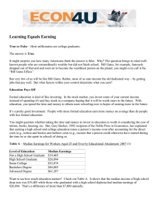 Learning Equals Earning