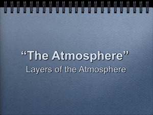 """The Atmosphere"" Layers of the Atmosphere"