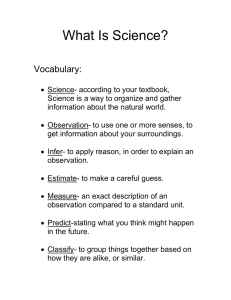 What Is Science?  Vocabulary: