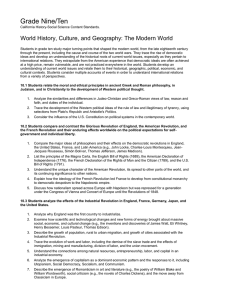 Grade Nine/Ten World History, Culture, and Geography: The Modern World