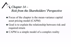Chapter 14 – Risk from the Shareholders' Perspective