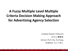 A Fuzzy Multiple Level Multiple Criteria Decision Making Approach Graduate Student: Eilinawati