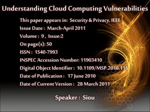 Understanding Cloud Computing Vulnerabilities
