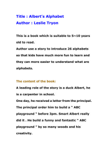 Title : Albert's Alphabet Author : Leslie Tryon