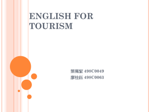 ENGLISH FOR TOURISM 498C0049 498C0063