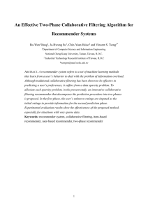 An Effective Two-Phase Collaborative Filtering Algorithm for Recommender Systems  Bo-Wen Wang