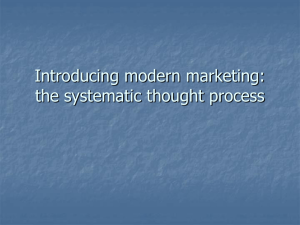 Introducing modern marketing: the systematic thought process