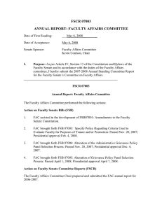 FSCR 07003 ANNUAL REPORT: FACULTY AFFAIRS COMMITTEE