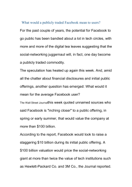 What would a publicly traded Facebook mean to users?