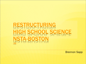 RESTRUCTURING HIGH SCHOOL SCIENCE NSTA-BOSTON Brennon Sapp