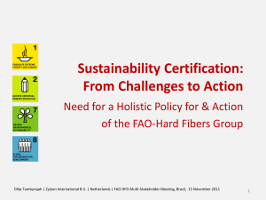 Sustainability Certification: From Challenges to Action of the FAO-Hard Fibers Group