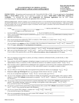 employment application supplement texas department of criminal