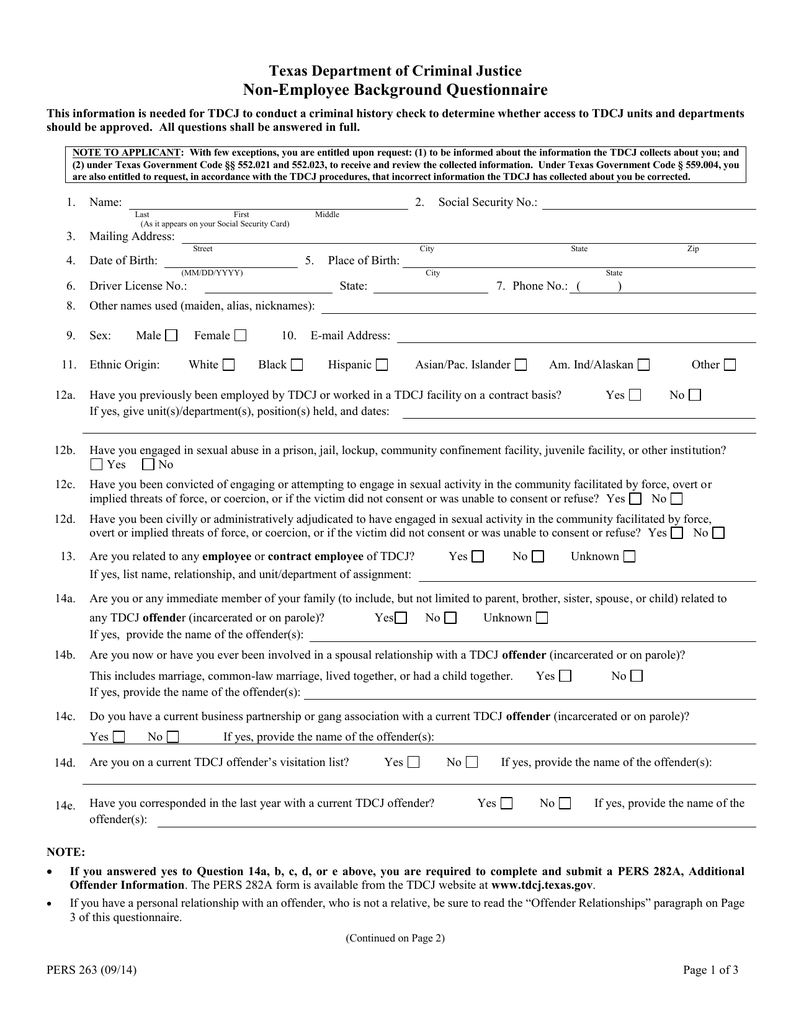 Non-Employee Background Questionnaire Texas Department of