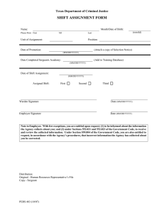 SHIFT ASSIGNMENT FORM Texas Department of Criminal Justice