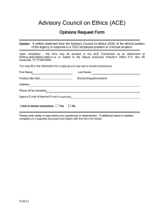 Advisory Council on Ethics (ACE) Opinions Request Form