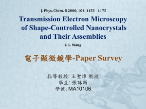 -Paper Survey Transmission Electron Microscopy of Shape-Controlled Nanocrystals and Their Assemblies
