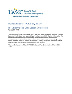 Human Resource Advisory Board HR Advisory Board Chair Election & Succession