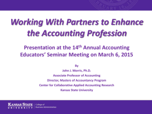 Working With Partners to Enhance the Accounting Profession Presentation at the 14